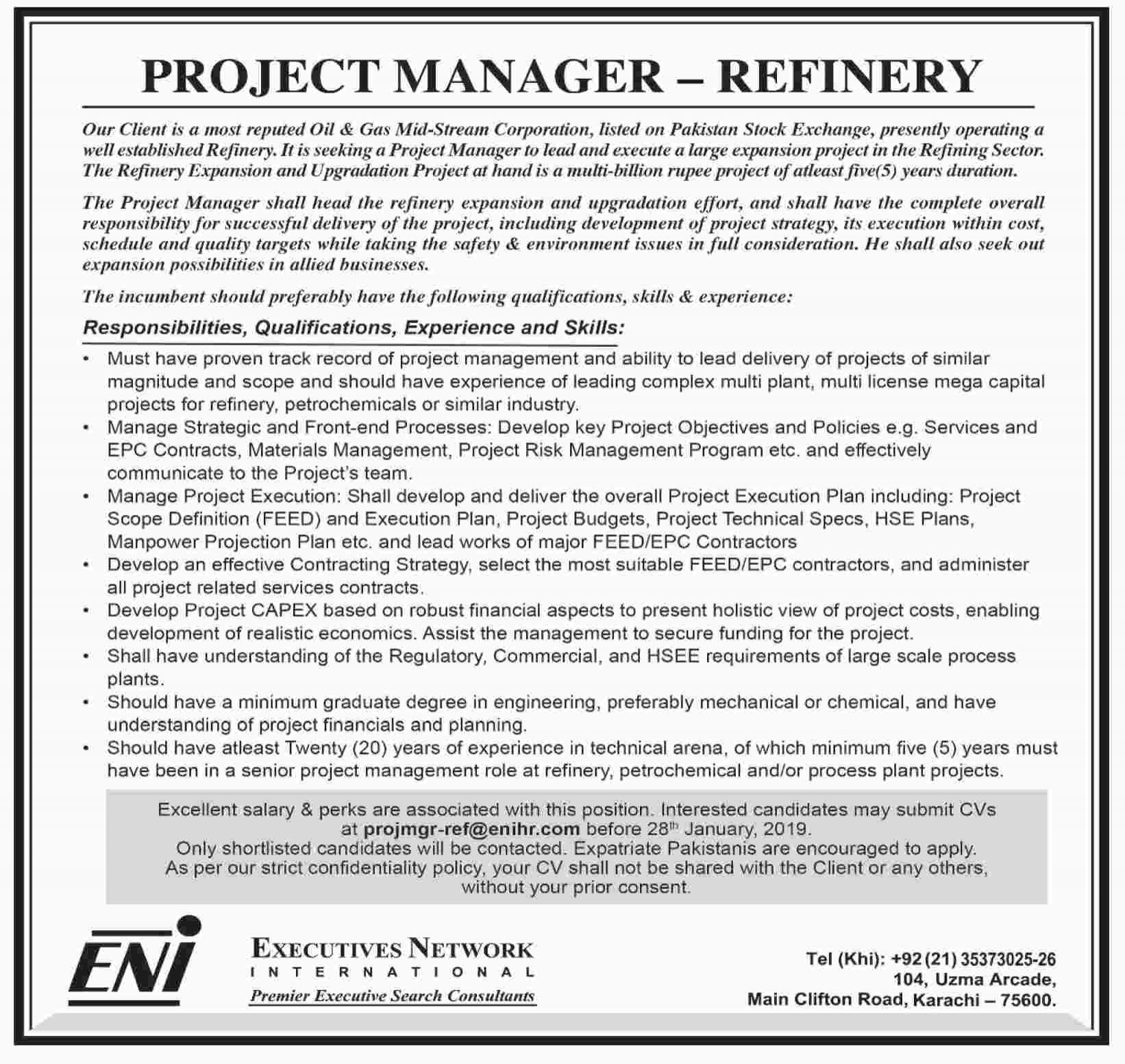PROJECT MANAGER REFINERY JOBS OPPORTUNITY - Jobs